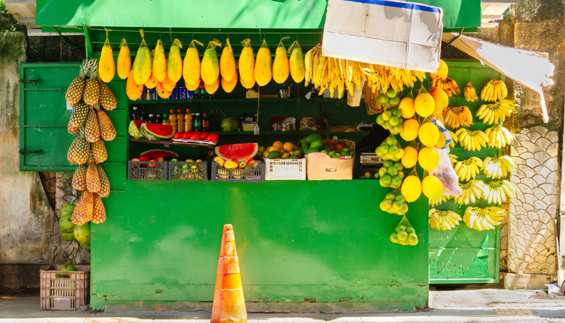 Street stall selling fruit in Salvador